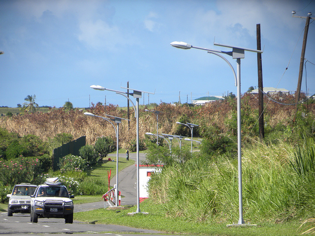 St. Kitts residents welcome solar streetlights in areas they say have been too dark and prone to crime. Credit: Desmond Brown/IPS