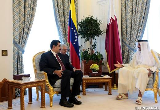 Venezuela's President Nicolás Maduro in a meeting in Qatar with Emir Tamin bib Hamad Al Thani (File photo)