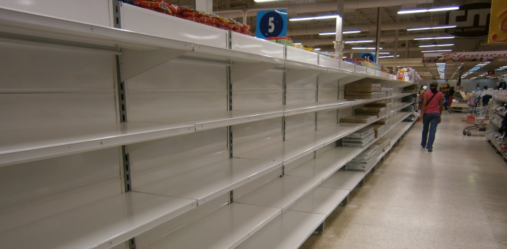 Empty shelves are commonplace in Venezuela