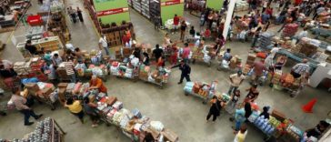 Long lines at supermarkets in Venezuela.