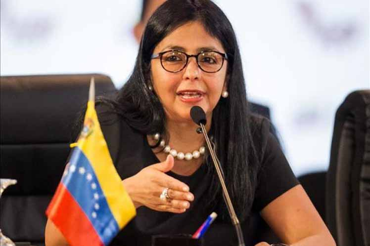 The Minister of Foreign Affairs of Venezuela, Delcy Rodríguez